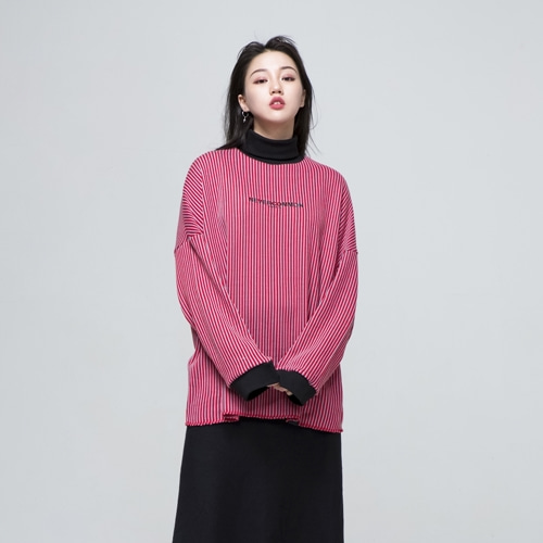 [NEVERCOMMON]  oversized vertical stripe knit (red/gray)