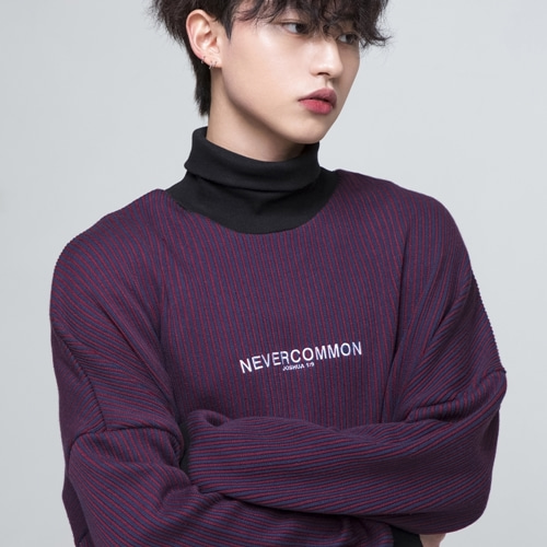 [NEVERCOMMON] oversized vertical stripe knit (burgundy/navy)