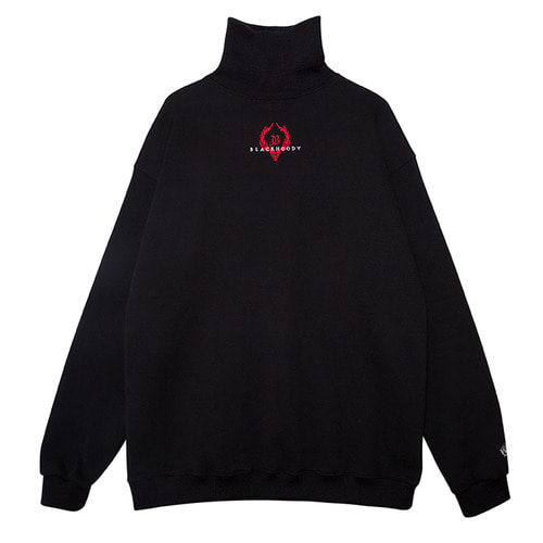 (50%SALE) [Black Hoody]Crown Logo Turtleneck Sweatshirt Black