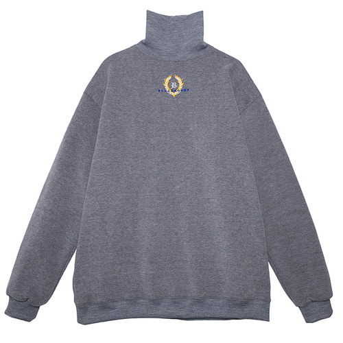 (50%SALE) [Black Hoody]Crown Logo Turtleneck Sweatshirt Grey