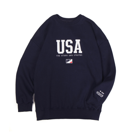 [30%할인][[Abnormalthing] - USA Crewneck (Navy)