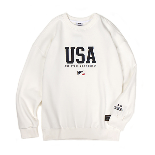 [30%할인][[Abnormalthing] - USA Crewneck (White)