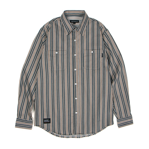 [30%할인][[Abnormalthing] - Vertical Stripe Shirts (BlueGreen)