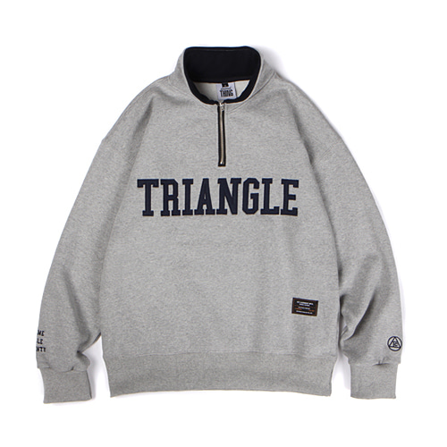[[Abnormalthing] - Triangle Half Zip Up Pullover (Gray)