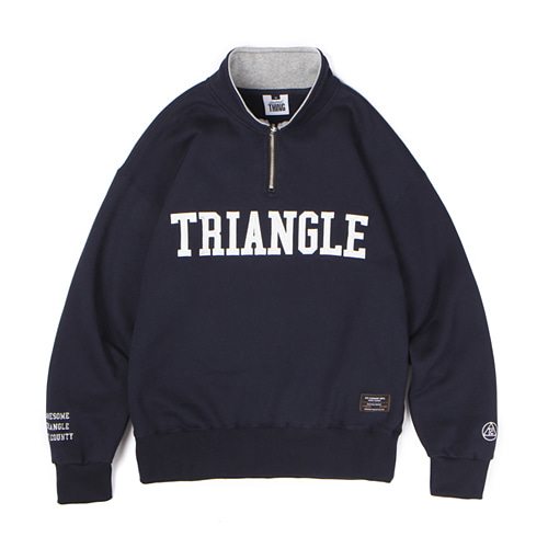 [Abnormalthing] - Triangle Half Zip Up Pullover (Navy)