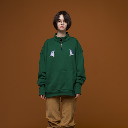 [ BLUOVABLU ] BOB FLEECE HALF ZIP PULLOVER (Green)