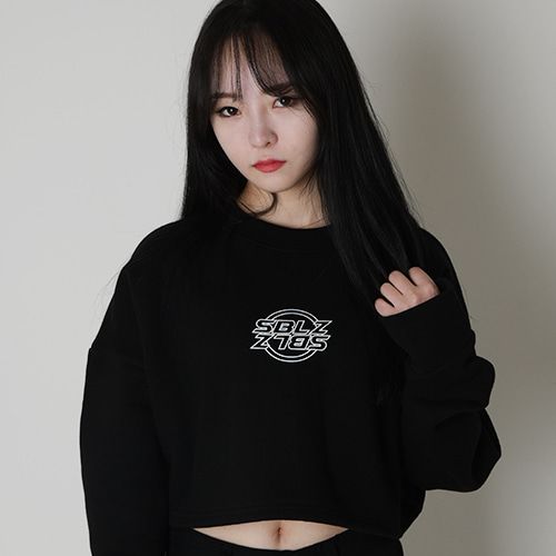 [S'BLZ] Crop Sweatshirts - Black