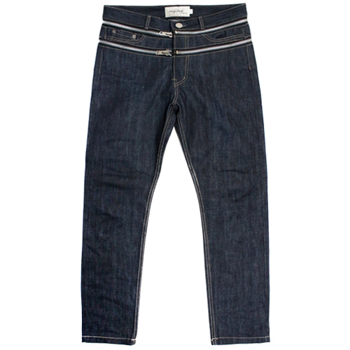 [EASY BUSY] Zipper Detail Selvage Denim Pants - Indigo