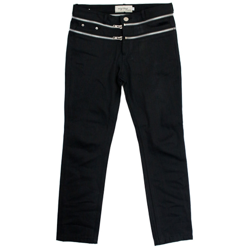 [EASY BUSY] Zipper Detail Selvage Denim Pants - Black