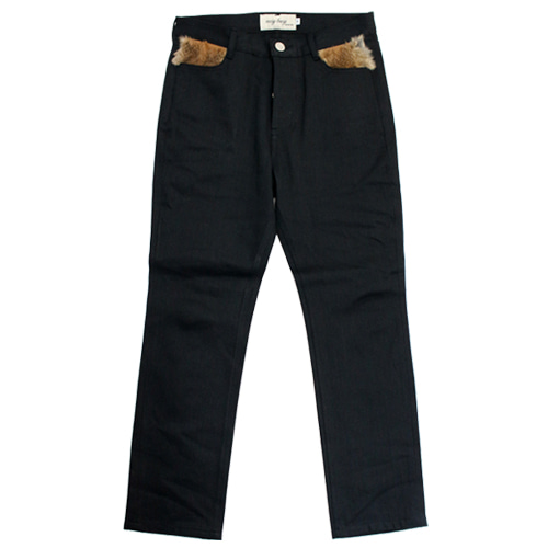 [EASY BUSY] Rabbit fur Detail Selvage Denim Pants - Black