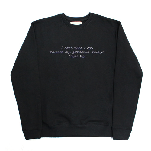 [EASY BUSY] Needlework Sweatshirts - Black