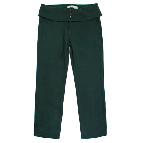 [EASY BUSY] Classic Fit High Waist Pants - Green