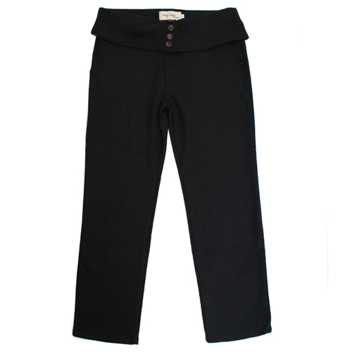 [EASY BUSY] Classic Fit High Waist Pants - Black