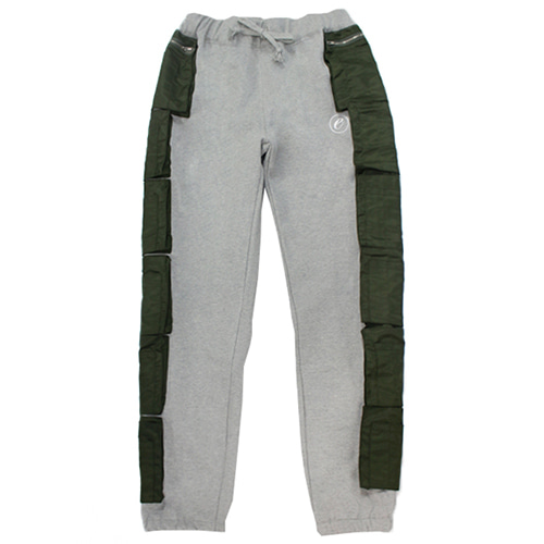 [e by EASY BUSY] MA-1 Side Pocket Pants - Grey/Khaki