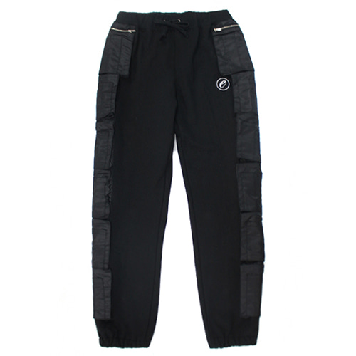 [e by EASY BUSY] MA-1 Side Pocket Pants - Black/Black
