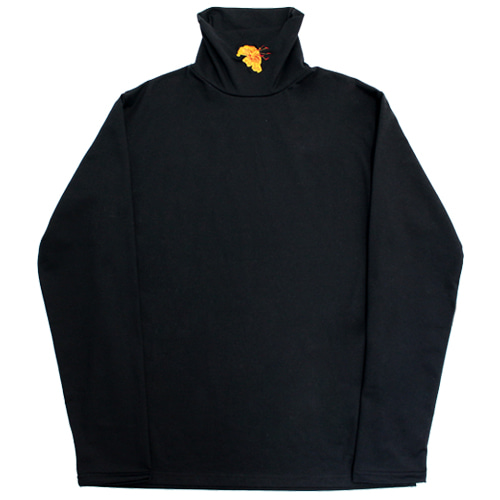 [e by EASY BUSY] Yellow Flower Turtle Neck - Black