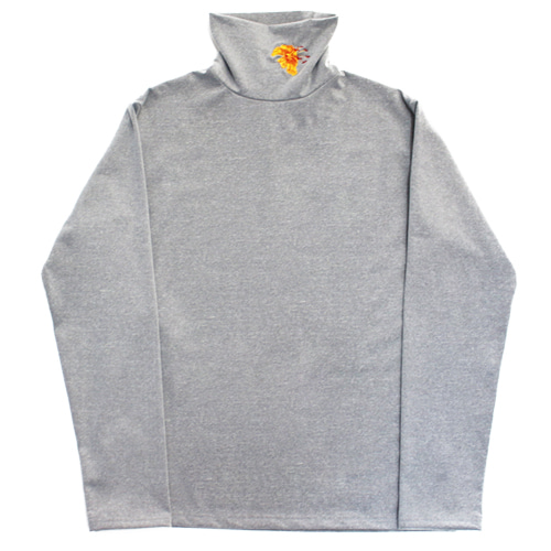 [e by EASY BUSY] Yellow Flower Turtle Neck - Grey