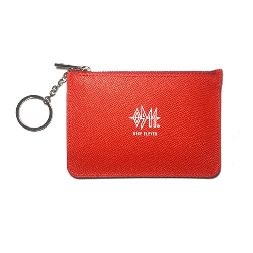 [nine eleven] Leather Card wallet - Red