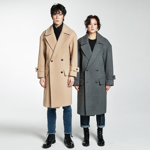 [Balancewood] Double Over Coat(Dark Gray)