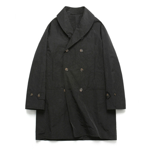 [LAFUDGESTORE](Unisex) Shawl Collar Rain Coat_Black