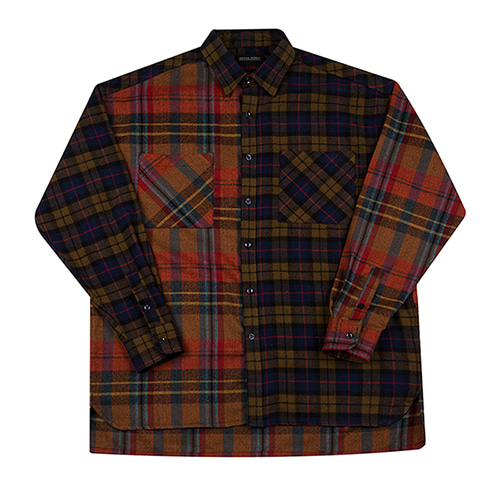 [MOTIVESTREET]OVERFIT MIX CHECK SHIRTS-ORANGEBROWN
