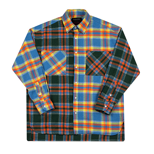 [MOTIVESTREET]OVERFIT MIX CHECK SHIRTS-YELLOWGREEN