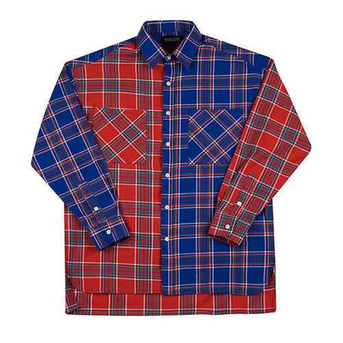 [MOTIVESTREET]OVERFIT MIX CHECK SHIRTS-BLUERED