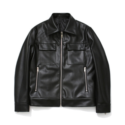 [LAFUDGESTORE] [리뉴얼ver.] Buffing Leather Trucker Jacket