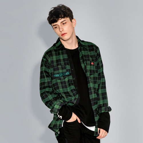 [PINK CRUSIAN]Overalls check shirt_PCA3SH001_Green (Unisex)