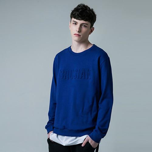 [PINK CRUSIAN] Crusian Embo T-shirt  MTM PCA1TS001_Blue (Unisex)
