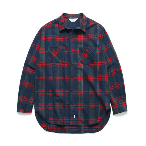 [LAFUDGESTORE](Unisex) Wool Tartan Check Shirt Red Navy