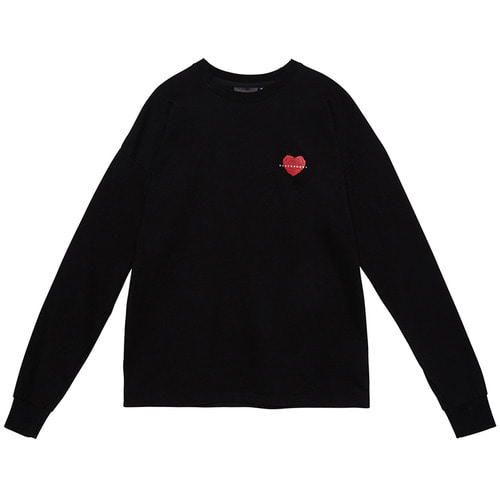 [Black Hoody]Heart Rose Long Sleeve Black