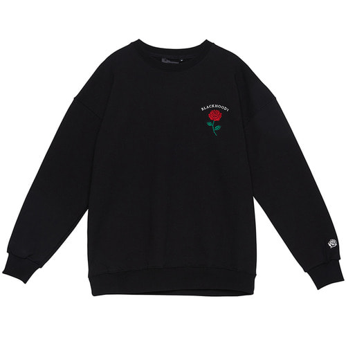 [Black Hoody]Single Rose Crewneck Sweatshirt Black