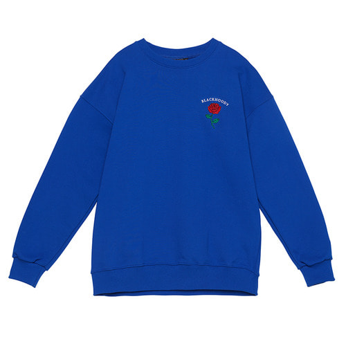 [Black Hoody]Single Rose Crewneck Sweatshirt Blue