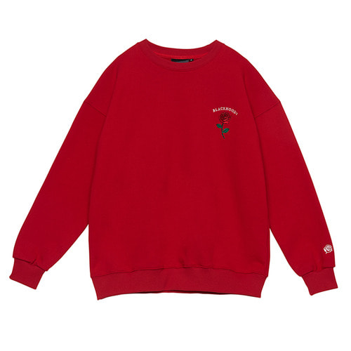 [Black Hoody]Single Rose Crewneck Sweatshirt Red