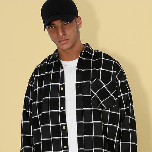 [TENBLADE] Block Check Loose Fit Shirt_Black