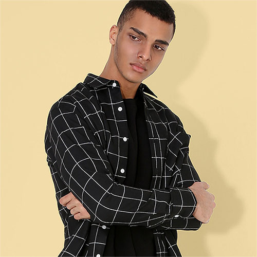 [TENBLADE] Tile Check Loose Fit Shirt_Black