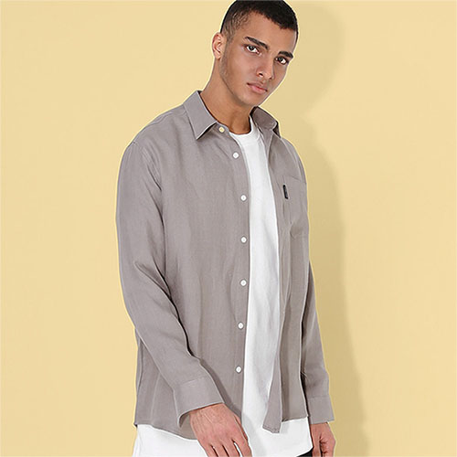 [TENBLADE] Linen Loose Fit Shirt_LightGray