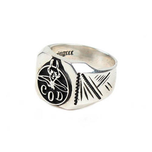 [AGINGCCC]303# 92.5 SILVER DEVIL RING BLACK