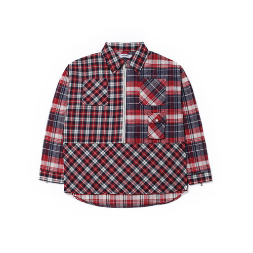 [Realization]Pullover Zipper Shirts-RED