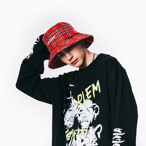 [SHETHISCOMMA]CHECK BASIC BUCKET HAT
