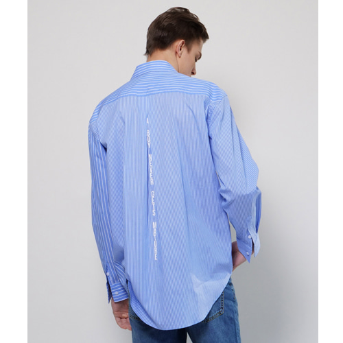[Coquet Studio]Unisex Signature Mixed Stripe Shirt Sky Blue