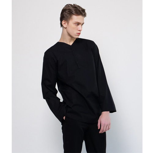 [Coquet Studio]Unisex Collarless Shirt Black