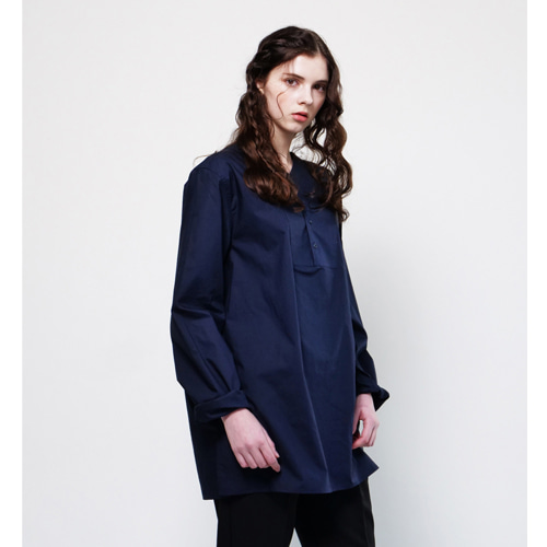 [Coquet Studio]Unisex Collarless Shirt Navy