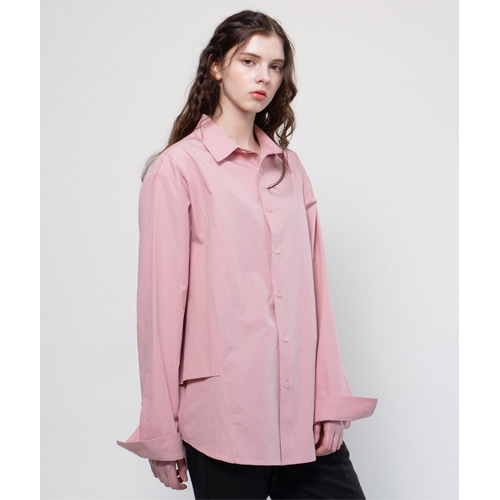 [Coquet Studio]Unisex Side Double Detail Shirt Indigo Pink