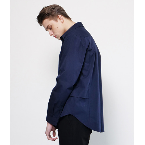 [Coquet Studio]Unisex Side Double Detail Shirt Navy