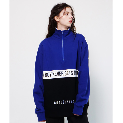 [Coquet Studio]Unisex Windbreaker Develop Half Zip-Up Blue
