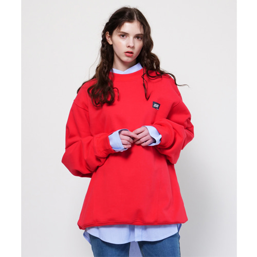 [Coquet Studio]Unisex Box Logo Oversize Sweatshirt Red Pink