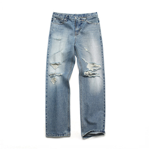 [3/5일 예약발송][LAFUDGESTORE][LAFITS] (Unisex) Damage Slim Standard Jeans_Light Blue