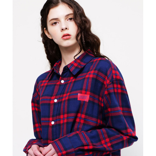 [Coquet Studio]Unisex Box Logo Red Check Shirt